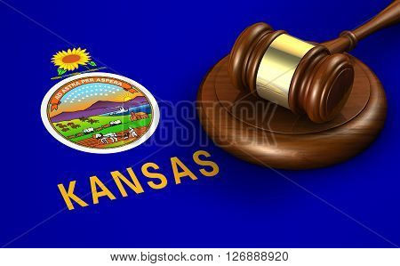 Kansas US state law code legal system and justice concept with a 3D rendering of a gavel on the Kansan flag on background.