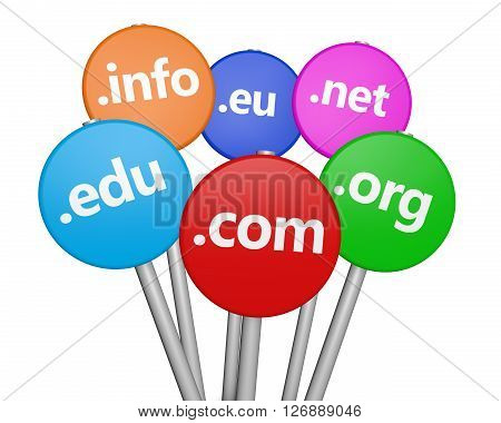 Internet domain names web and website hosting concept with sign and text on colorful road sign 3D illustration isolated on white background.