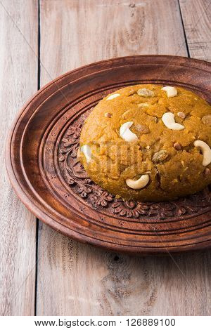 Moong Dal Halwa - a sweet dish from India, Indan Sweet Halwa made from Moong Dal, moong dal sweet sheera or shira cooked in pure ghee