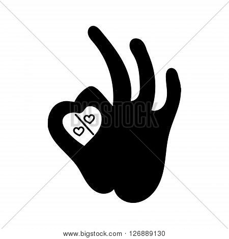 percent sign icon with hearts human okay hand sign