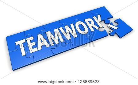 Business teamwork collaboration and team concept with word on a blue puzzle 3D illustration isolated on white background.