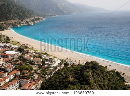 Aerial view of town and beach Oludeniz Fethiye Turkey