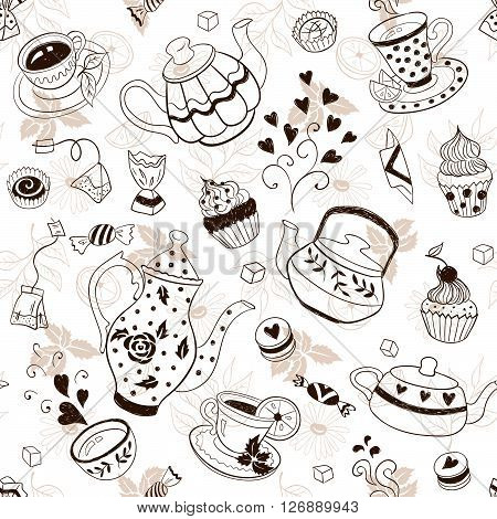 Teapots And Cups Background