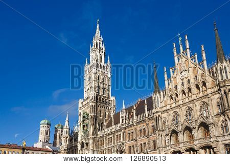 Facade of the Cityhall located in Marienplatz square of Munich