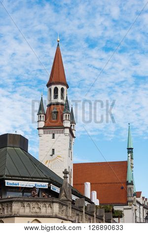 Munich Germany - January 08 2016: The tower of old Cityhall on the blue sky background