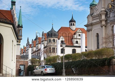 Munich Germany - January 08 2016: Buildings of Stadtsparkasse nearby the old Cityhall in centre of Munich