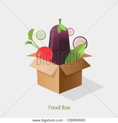 Cardboard box with fresh,healthy vegetables a flat style. Diet and organic food template.Food delivery.