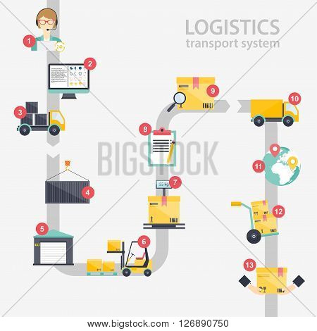 Logistic infographics. Set of flat warehouse icons logistic blank and transportation storage vector illustration.