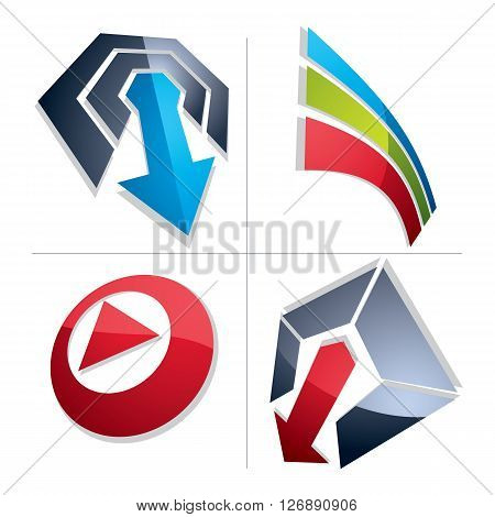 Set of three-dimensional abstract icons play sign special arrow. 3d vector push button multimedia arrow symbol isolated on white background. Collection of graphic elements.