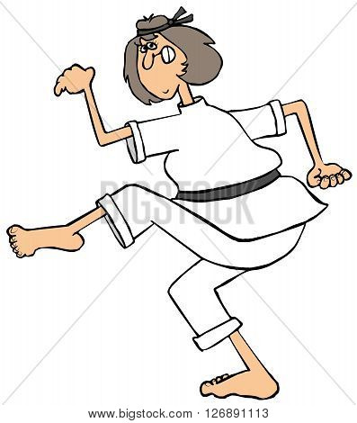 Illustration of a woman wearing martial arts outfit and doing a karate kick.