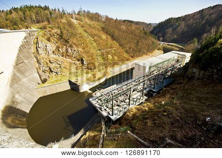 Hydro-electric station. Water power plant. The concrete dam on the river.