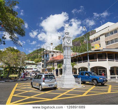 Victoria Clock Tower, Mahe, Seychelles, Editorial