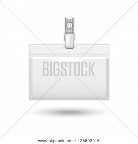 Badge icon.Vector realistic card identification isolated on a white background with shadow