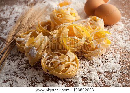Fettuccine Pasta Italian Food Still Life Rustic  Close Up Macro