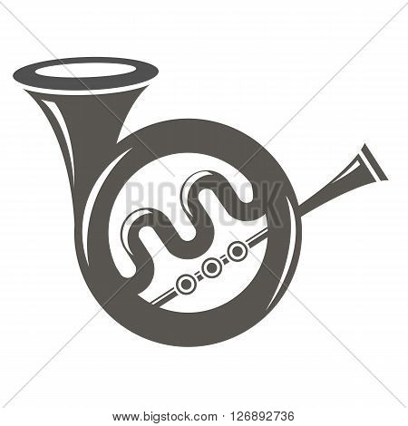 Musical French  Horn Icon Isolated on White Background. French Horn Icon.  French Horn Icon Web Design. French Horn Icon Concept. French Horn Icon  Symbol.   French Horn Sign