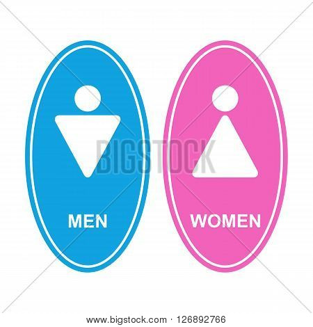 Restroom icon.Male and female WC icon denoting toilet and restroom facilities for both men and women with white male and female silhouetted figures in flat style