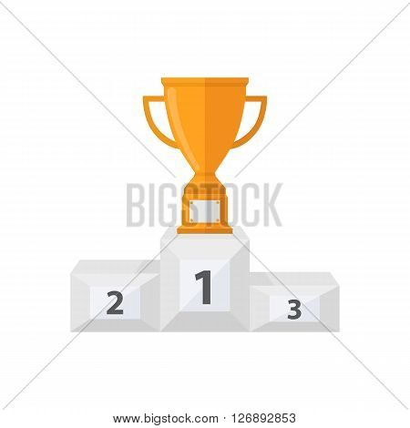 Pedestal with gold trophy cup.Vector award cup with a pedestal icon in a flat style isolated on a white background