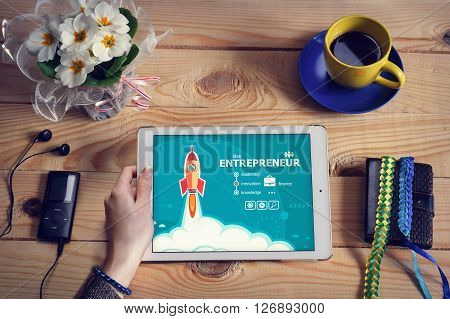 Laptop Computer, Tablet Pc And Entrepreneur Design Concept