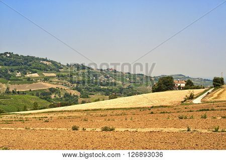 Landscape of the hills of Romagna (Italy) at summer