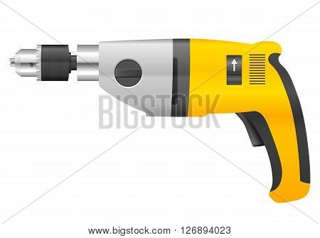 Electric drill on a white background. Vector illustration.