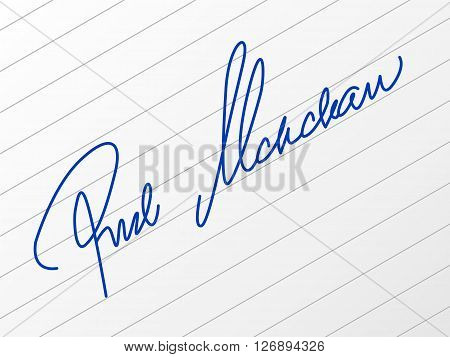 Signature on a paper sheet. Vector illustration.