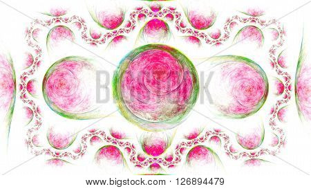 Incredible exotic pattern of rings and spheres. Microcosm. Mysterious psychedelic relaxation wallpaper. Sacred geometry. Fractal abstract pattern. Digital artwork creative graphic design.