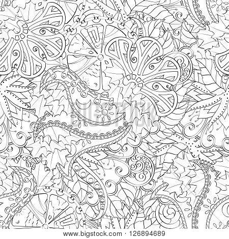 Tracery Seamless Calming Pattern. Mehendi Design. Ethnic Monochrome Binary Harmonious Doodle Texture