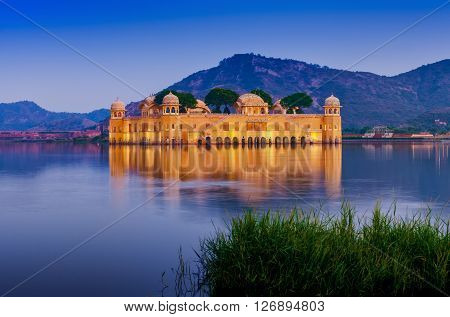 Water Palace Jal Mahal At Night. Man Sager Lake, Jaipur, Rajasthan, India, Asia
