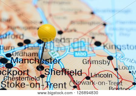 Sheffield pinned on a map of UK