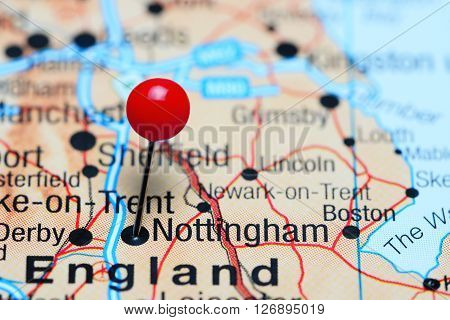 Nottingham pinned on a map of UK
