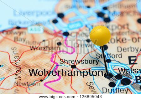Wolverhampton pinned on a map of UK