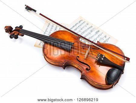 Top View Of Violin On Score