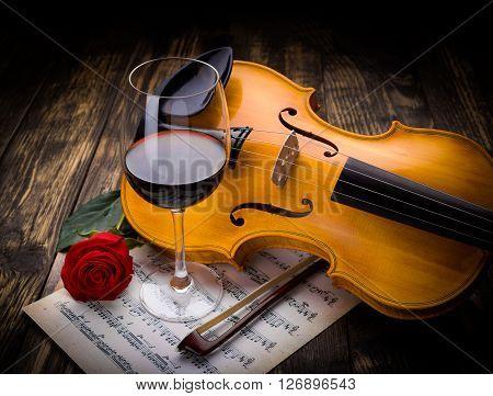 Wine, Rose And Violin