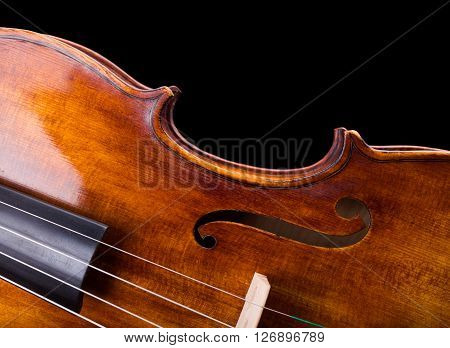 Close View Of A Violin Strings And Waist