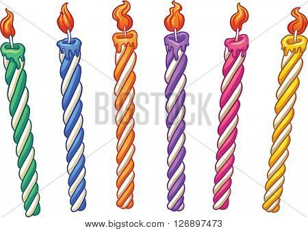 Cartoon birthday candles. Vector clip art illustration with simple gradients. Each on a separate layer.