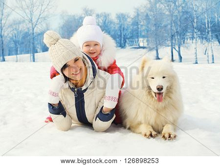 Mother and baby with white Samoyed dog together on snow in winter day