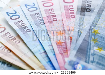 Set of different euro banknotes, background