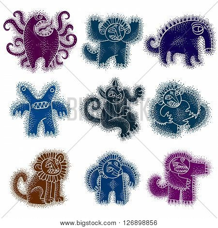 Vector cute Halloween character ogres collection of freak monsters. Funny cat illustration for use in graphic design and as mascot. Sitting lion with teeth and beautiful mane