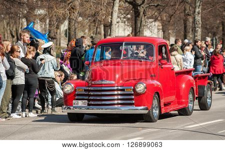NORRKOPING, SWEDEN - MAY 1: Chevrolet 3100 Pick-Up 1949 at classic car parade celebrates spring on May 1, 2013 in Norrkoping, Sweden. This parade is an annual tradition in Norrkoping on May Day.