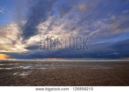 Sunset During Low Tide At The Strait Of Dover (pas De Calais)