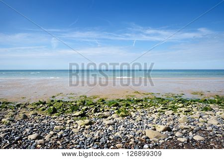 Beach With Pebbles On A Sunny Day On The Strait Of Dover (pas De Calais)