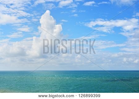 View Of Strait Of Dover (pas De Calais) With Peaceful Clouds On A Sunny Day
