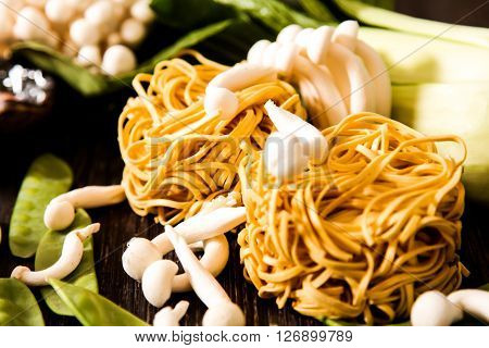 Japanese Food Style. Udon Noodles With Shimeji Mushrooms.