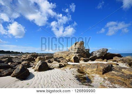 Rocky Ocean Coastline In Plouguerneau, Brittany, France