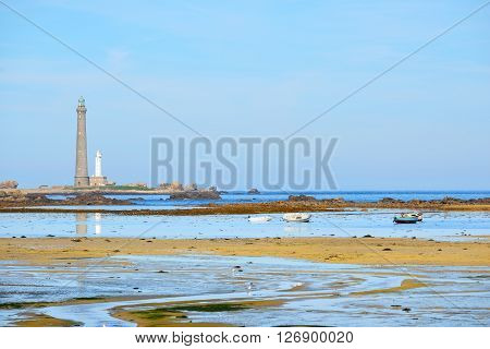 View of Ile Vierge lighthouse and the sea coast in Brittany France