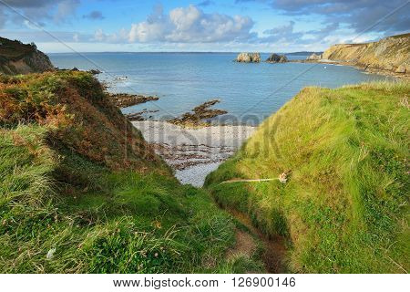 View Of An Ocean Lagoon With A Climbing Rope At Pointe De Toulinguet In Brittany, France