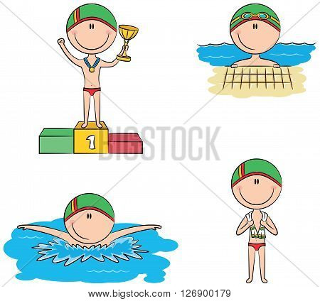 Cute vector swimmer boys in different situations: in the pool swimming in the pool standing with a towel on the winner's podium with the cup