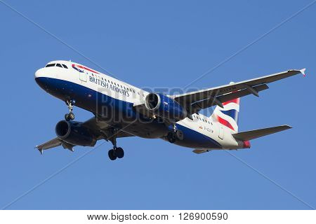ST. PETERSBURG, RUSSIA - MARCH 20, 2016: Airbus A320-232 (G-EUYM) British Airways in flight