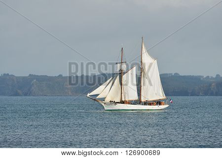 French Tall Ship With Full Sails At The Coast Of Brittany, France