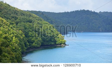 Hills Covered With Green Forest Surrounding Lagoons Of The Celtic Sea Close To Pont De Terenez, Brit